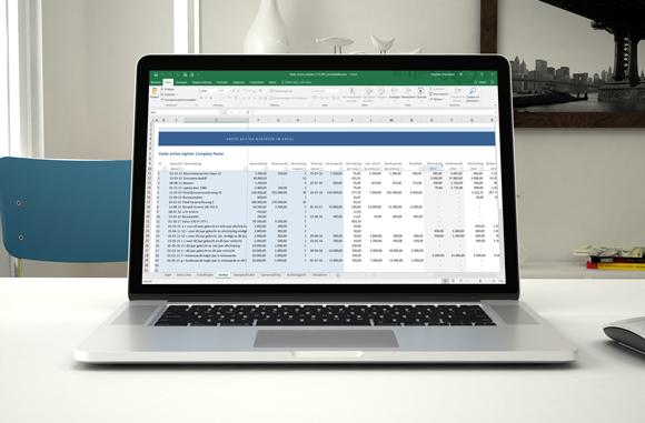Screenshot vaste activa register